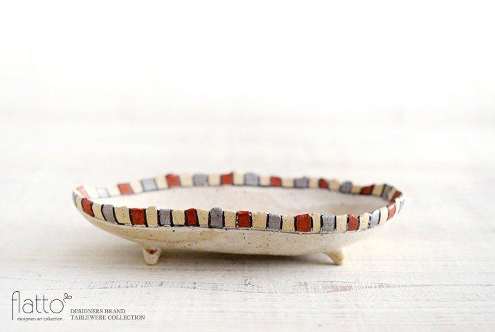 トキノハ|iroe 粉引色絵楕円鉢(S・縞・赤銀)
