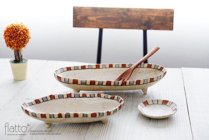 iroe 粉引色絵楕円鉢(S・縞・赤銀) 作家「トキノハ」-04