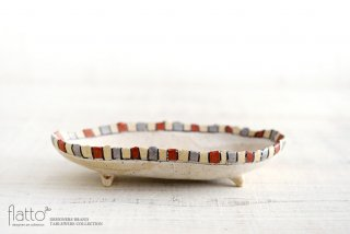 iroe 粉引色絵楕円鉢(S・縞・赤銀) 作家「トキノハ」