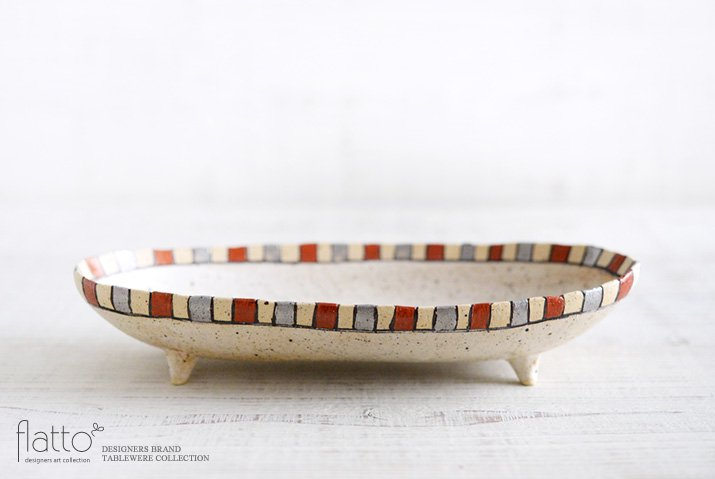 トキノハ|iroe 粉引色絵楕円鉢(M・縞・赤銀)