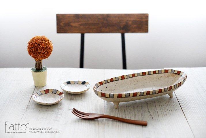 トキノハ|iroe 粉引色絵楕円鉢(M・縞・赤銀)-03