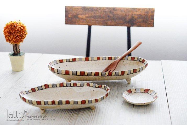 トキノハ|iroe 粉引色絵楕円鉢(M・縞・赤銀)-04