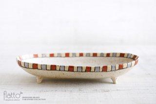 iroe 粉引色絵楕円鉢(M・縞・赤銀) 作家「トキノハ」