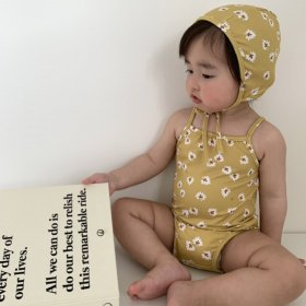 petit leaflower swemsuit hat set