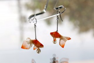 Origami Jewelry <br/>有澤悠河 作 「金魚」 <br/>ピアス/イヤリング<br/>ブチ<br/>