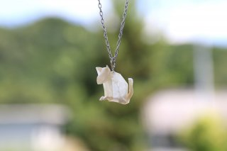 Origami Jewelry<br/>有澤悠河 作 「ねこ」 <br/>ネックレス<br/>シロ<br/>