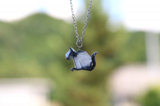 Origami Jewelry<br/>有澤悠河 作 「ねこ」 <br/>ネックレス<br/>グレ<br/>