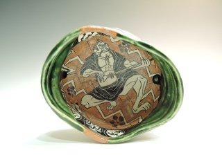 深見文紀/三味線漫画織部茶碗1143   FUKAMI Fuminori / Syamisen mangaoribe chawan 1143