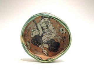 深見文紀/漫画織部茶碗恵比寿之画1134   FUKAMI Fuminori / Mangaoribe chawan ebisu 1134