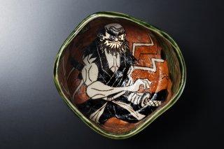 深見文紀/漫画織部茶碗達磨親父侍之画1116   FUKAMI Fuminori / Mangaoribe chawan darumaoyajisamurai 1116