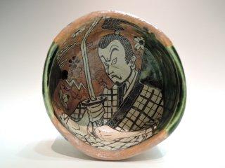 深見文紀/侍漫画織部茶碗1160   FUKAMI Fuminori / Samurai mangaoribe chawan 1160