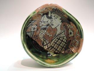 深見文紀/般若漫画織部茶碗1125   FUKAMI Fuminori / Hannya mangaoribe chawan 1125