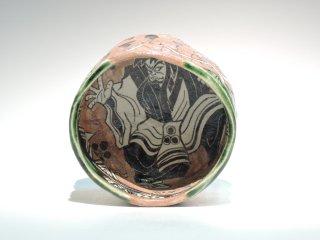 深見文紀/漫画織部茶碗 歌舞伎之画0202   FUKAMI Fuminori / Mangaoribe Chawan0202