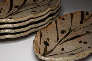 佐藤和次/木ノ葉型金彩皿5枚   SATO Kazuji / Konohagatakinsaizara  5 plates