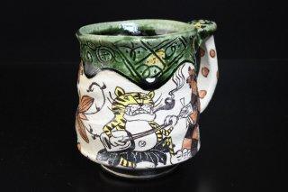 【陶展】深見文紀/漫画織部マグカップ127-1   FUKAMI Fuminori / Mangaoribe mug 127-1