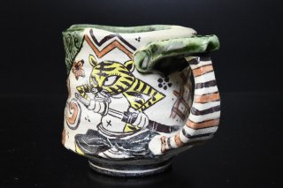 【陶展】深見文紀/漫画織部マグカップ127-2   FUKAMI Fuminori / Mangaoribe mug 127-2
