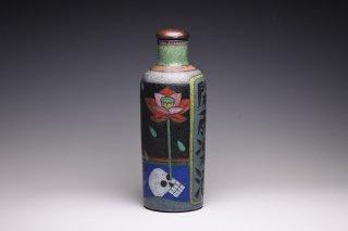 志村観行/水面に蓮どくろ閑雨の図蓋付酒瓶004   SHIMURA Noriyuki / Sake bottle with lid 004