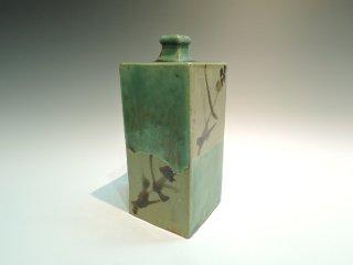 濱田庄司/青釉鉄絵角瓶   HAMADA Syoji / Aogusuri tetsue kakubin