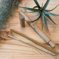 bamboo straw & case SET