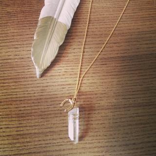 Crystal Quartz/horse shoe  necklace(14kgf)