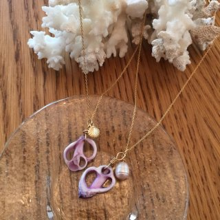Purple SHELL  necklace(14kgf)