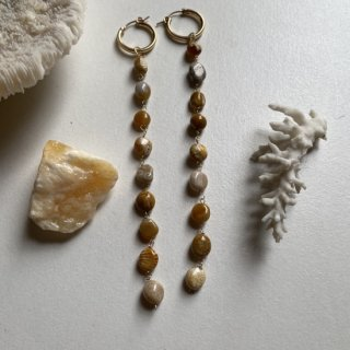 Fossil coral Long hoop pierce