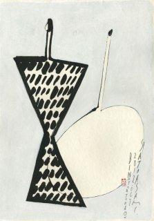 点々の瓶と胴の丸い花器