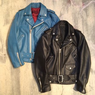HOSU LADY'S LINE COWHIDE W RIDER'S JACKET/BLACK,BLUE