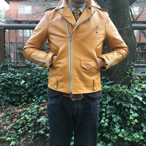 HOSU HORSE LEATHER W RIDER'S JACKET/BLACK,CAMEL