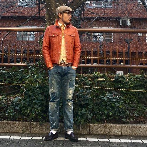 HOSU レザーデニムジャケット(ホースレザー)/オレンジ、ブラック