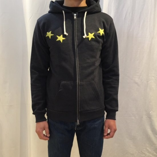 HOSU ROUND STAR PRINT ZIP-UP HOODIE/OATMEAL,DARK NAVY