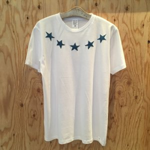 HOSU ROUND STAR PRINT T-SHIRT/WHITE(BLUE),NAVY,BLACK