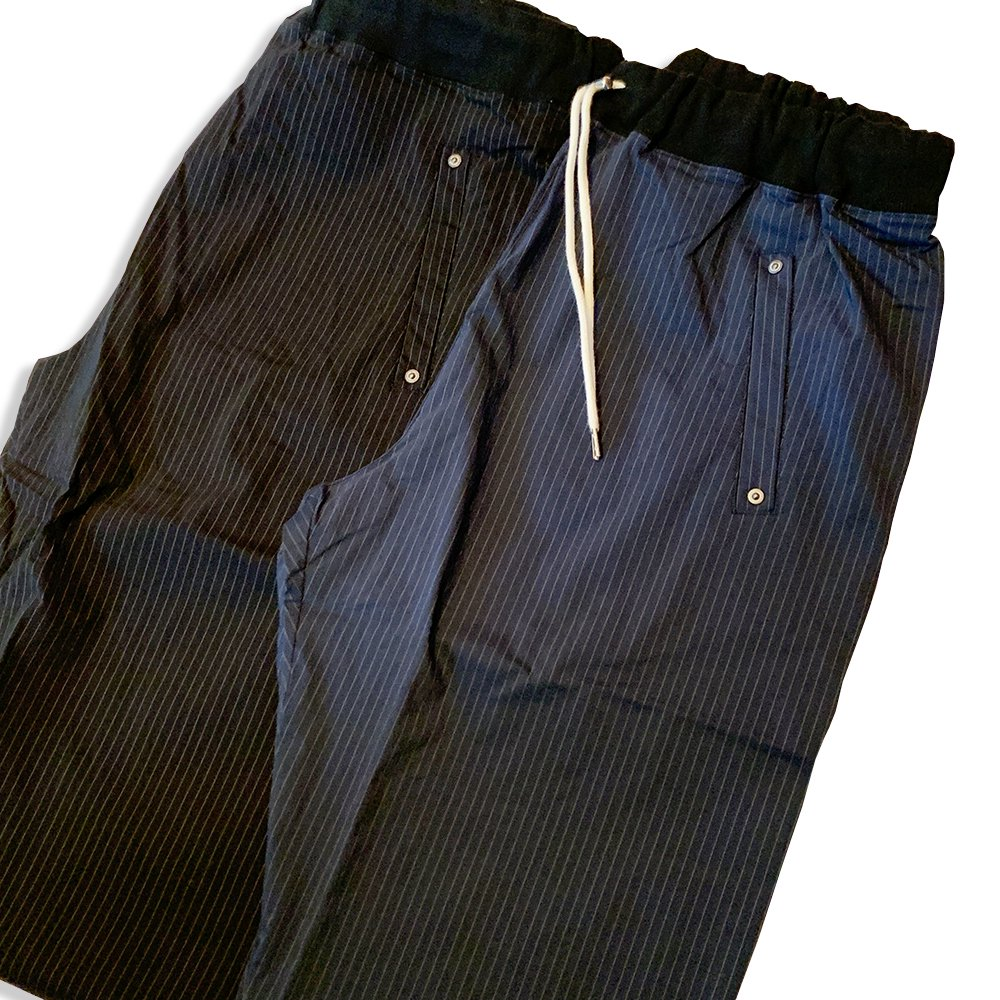 Lefty-h STRETCH NYLON PANTS(STRIPE)/BLACK,NAVY
