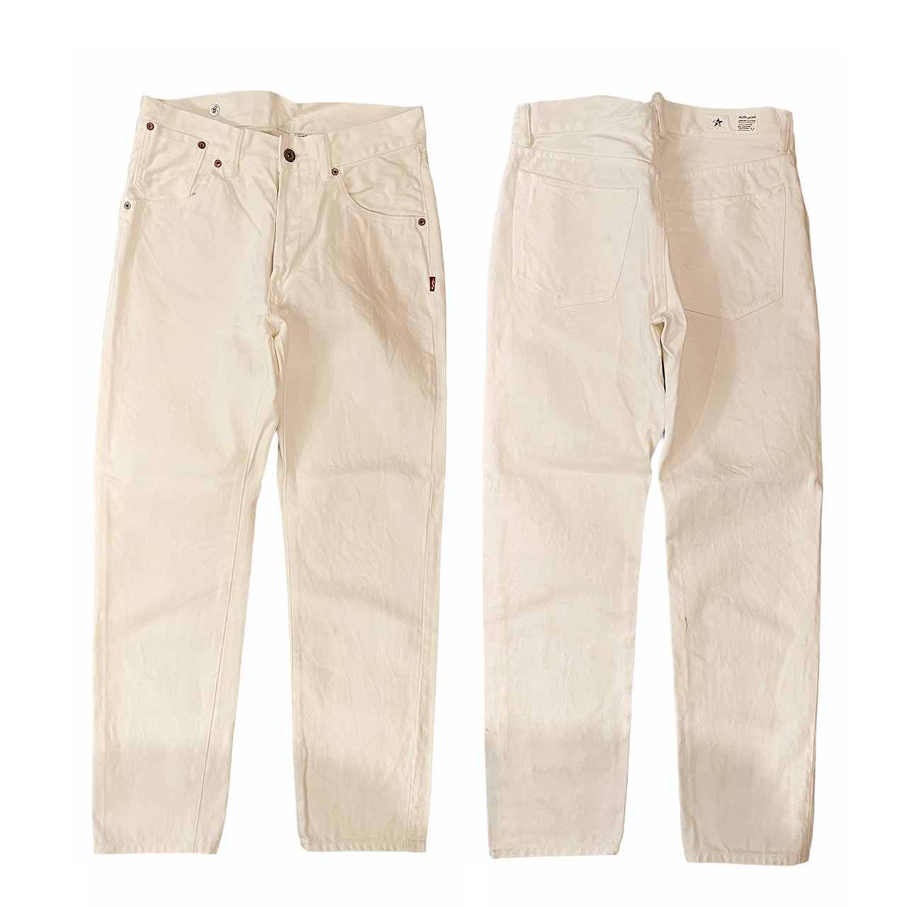 <img class='new_mark_img1' src='//img.shop-pro.jp/img/new/icons7.gif' style='border:none;display:inline;margin:0px;padding:0px;width:auto;' />HOSU TYPE 185 REGULAR TAPERED WHITE DENIM(ONE WASH)
