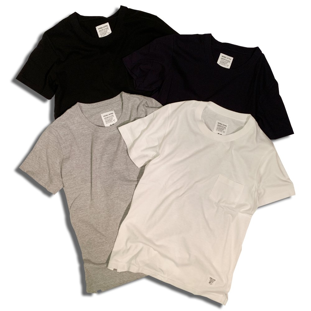 HOSU MADE IN NIIGATA 88 COTTON POCKET T-SHIRT/WHITE,BLACK,GREY,NAVY