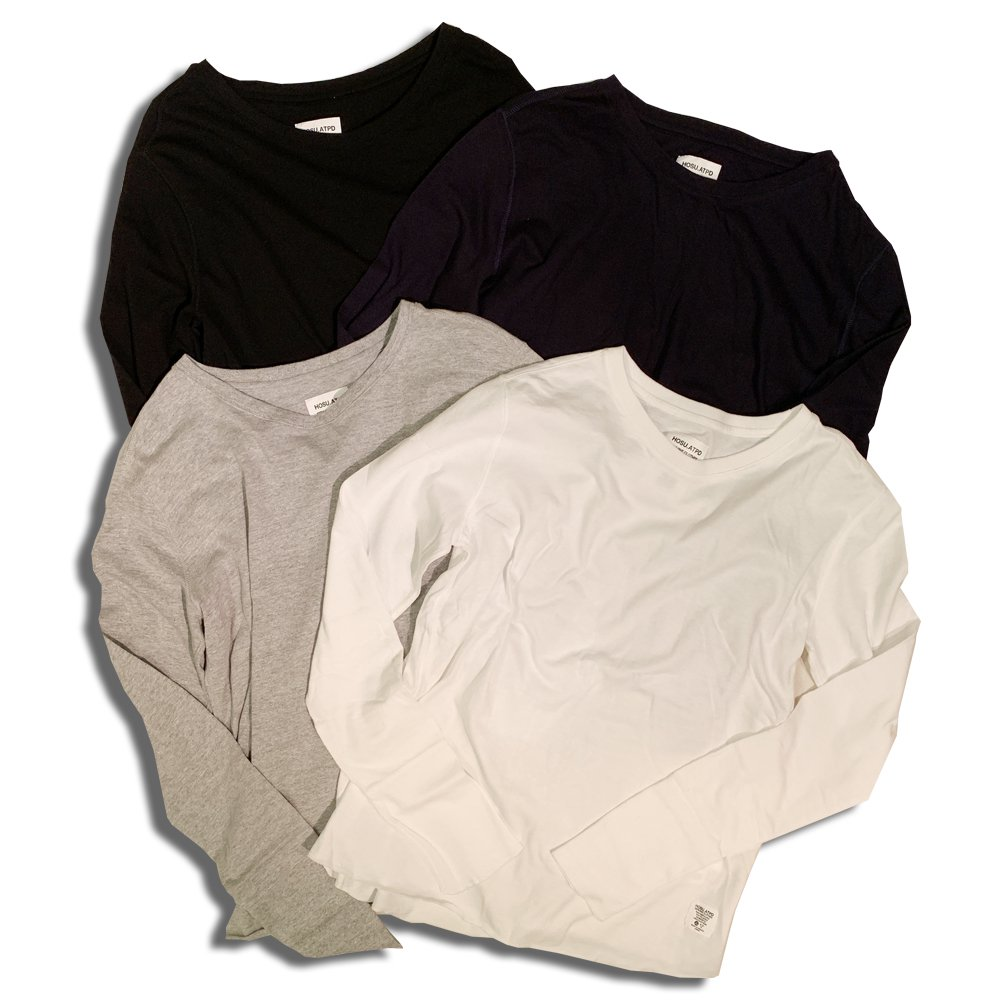 HOSU 88コットン長袖Tシャツ/ホワイト、ブラック、グレー、ネイビー