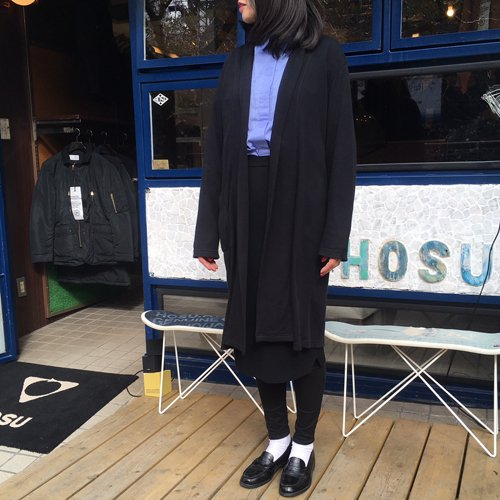 AIR COTTON ロングカーディガン/BLACK,CHARCOAL HOSU Lounge Robe of hommayu
