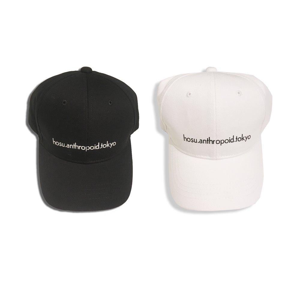 HOSU ロゴプリントキャップ/ホワイト、ブラック