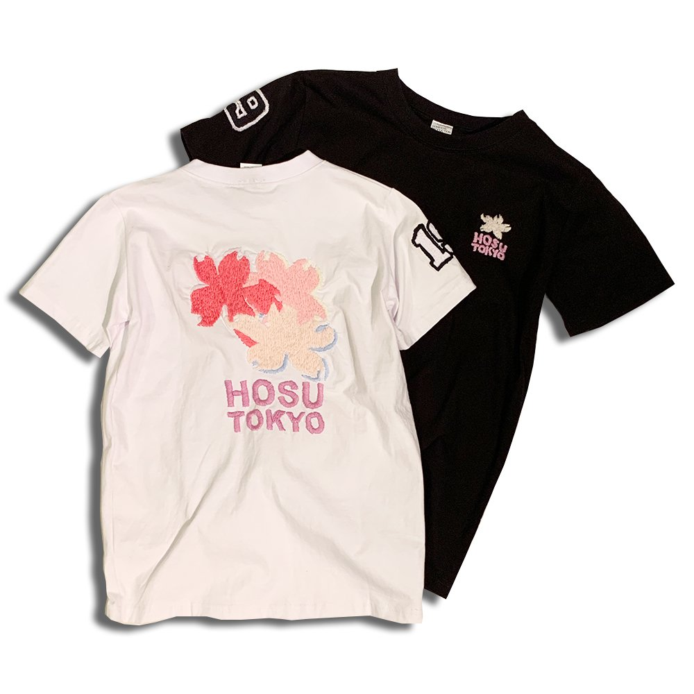 HOSU 手刺繍Tシャツ(SAKURA)/ホワイト、ブラック