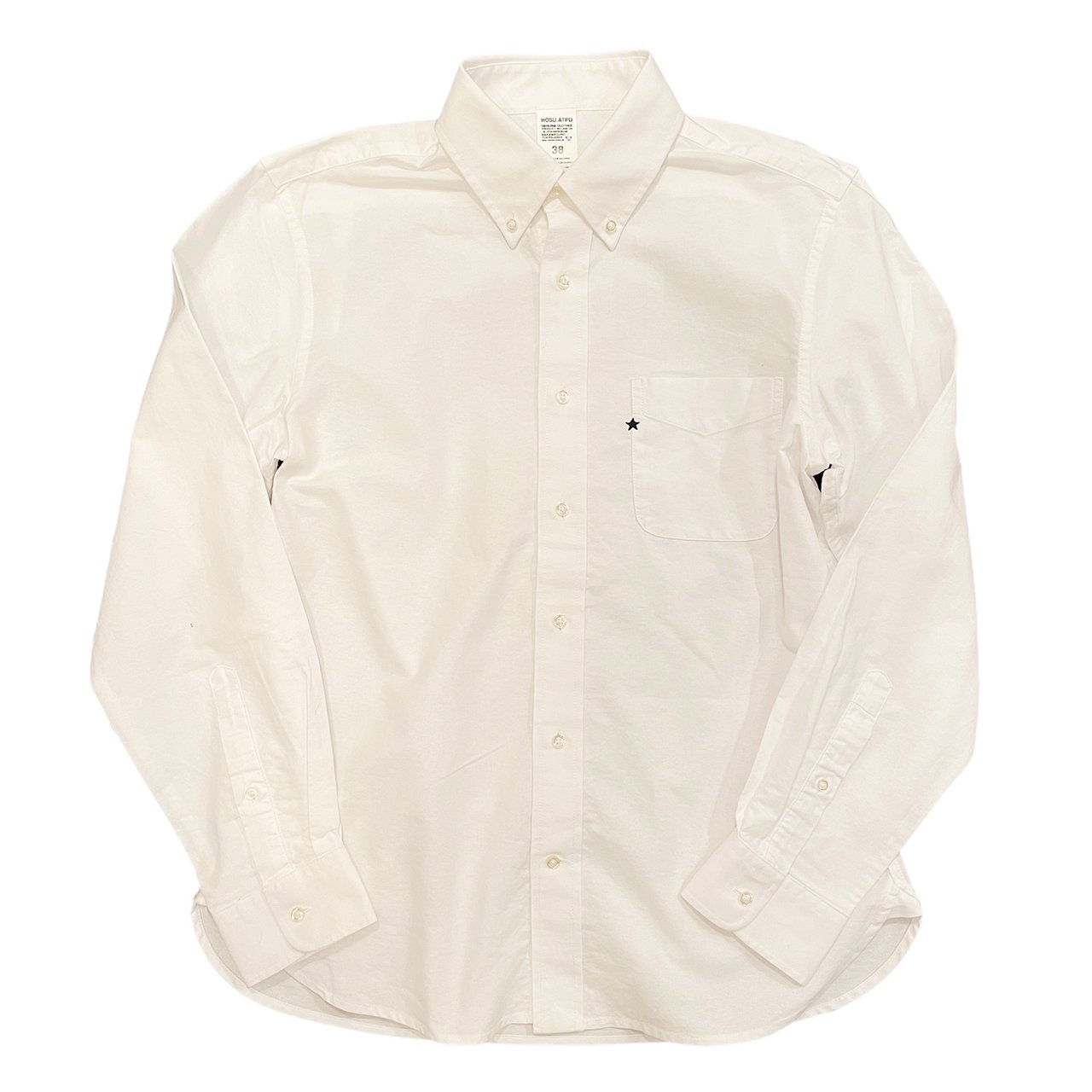 OXFORD SHIRT ONE STAR EMBROIDERY /WHITE,BLUE HOSU