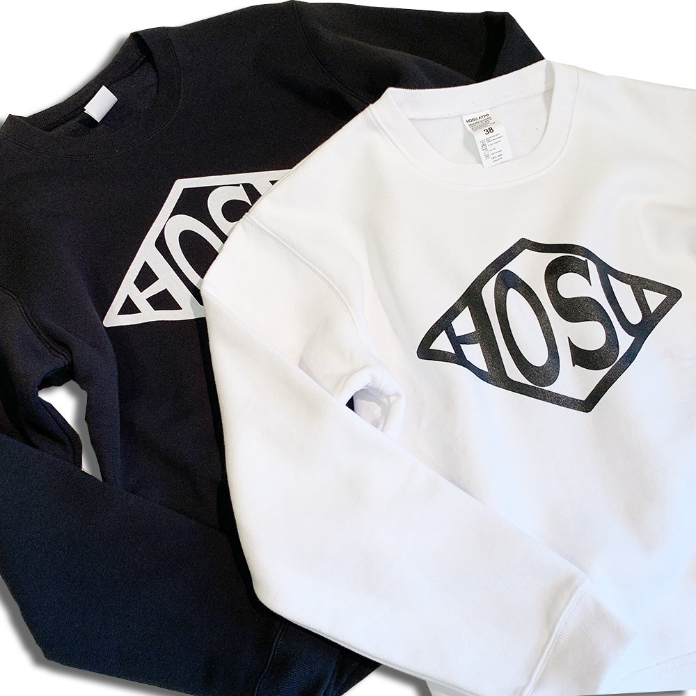HOSU LOGO PRINT CREW-NECK SWEATSHIRT/WHITE,BLACK
