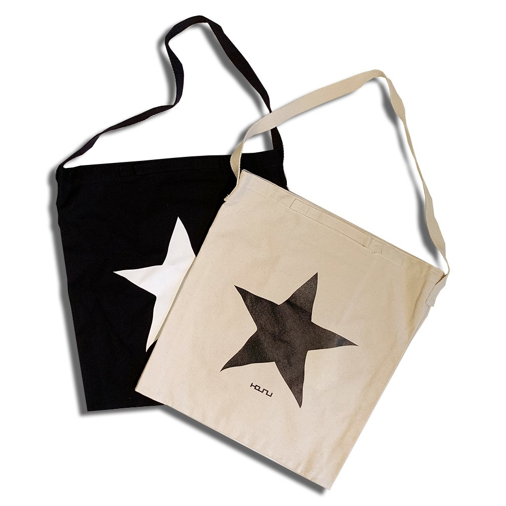 2WAY TOTE BAG ONE STAR /IVORY,BLACK  HOSU