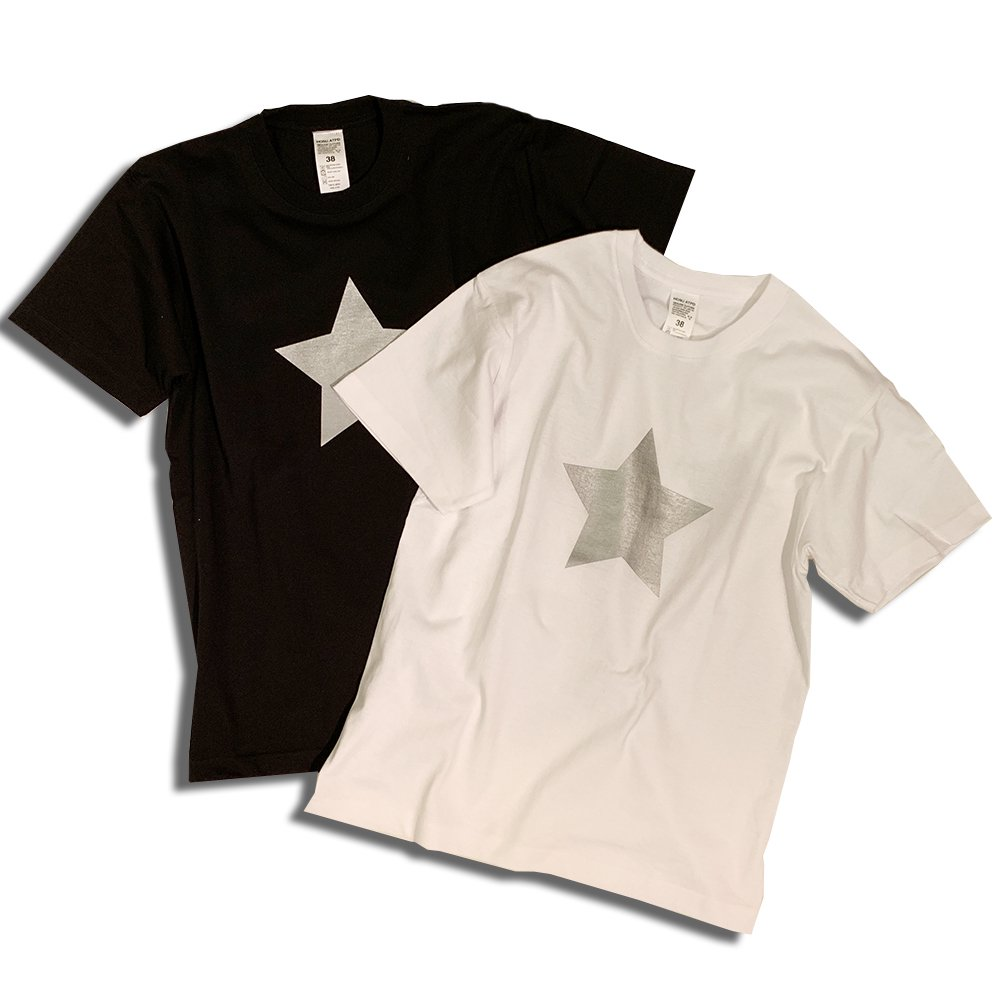 HOSU スタープリントTシャツ/ホワイト、ブラック