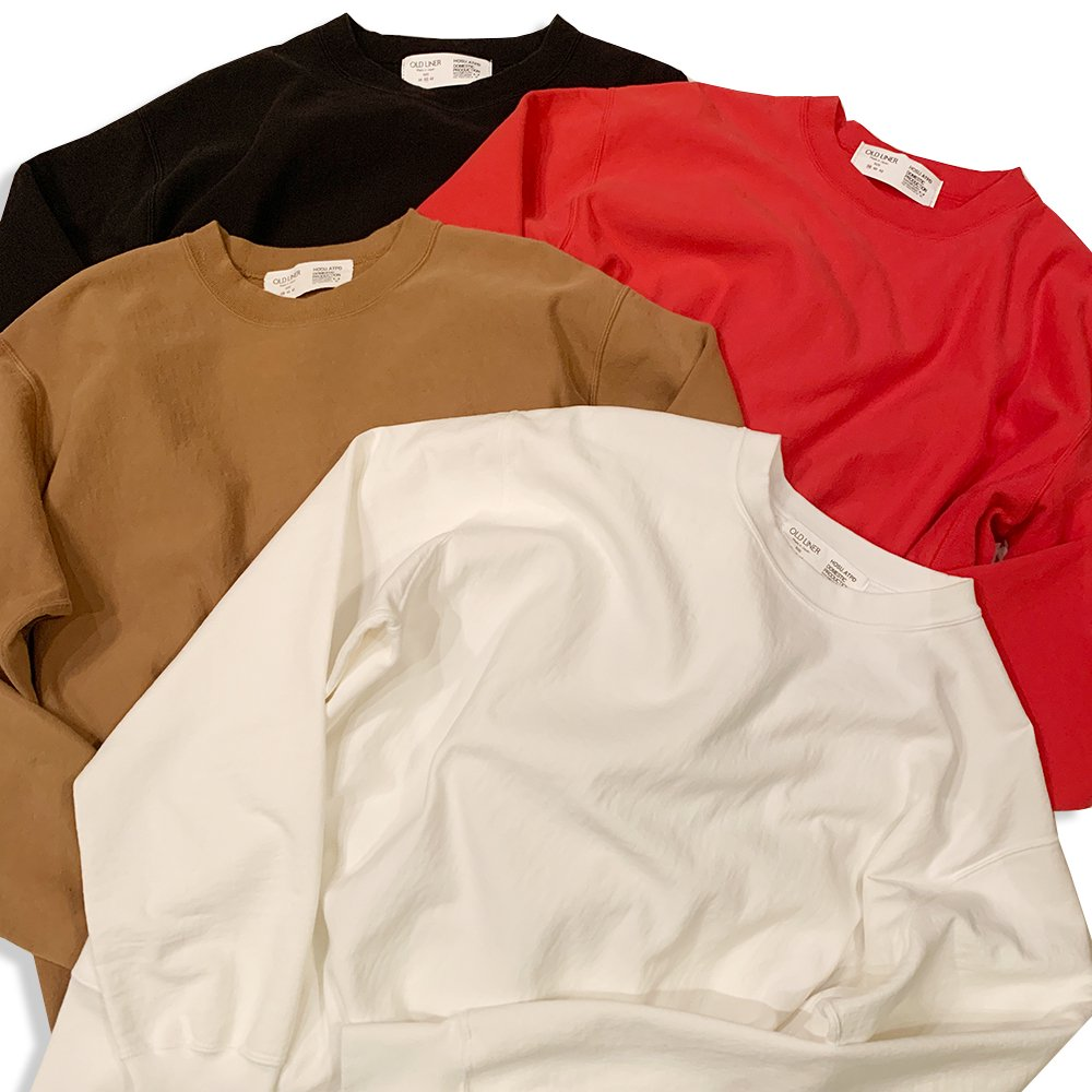 OLDLINER×HOSU Usa Cotton Vintage Sweatshirt/White,Black,Red,Camel