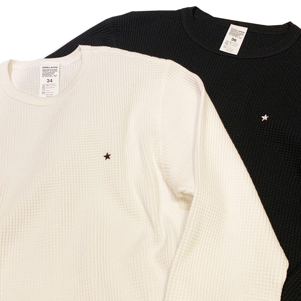 《30%OFF》HOSU 星刺繍サーマル/ホワイト、ブラック