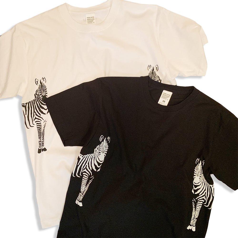 HOSU ゼブラプリントTシャツ/ホワイト、ブラック
