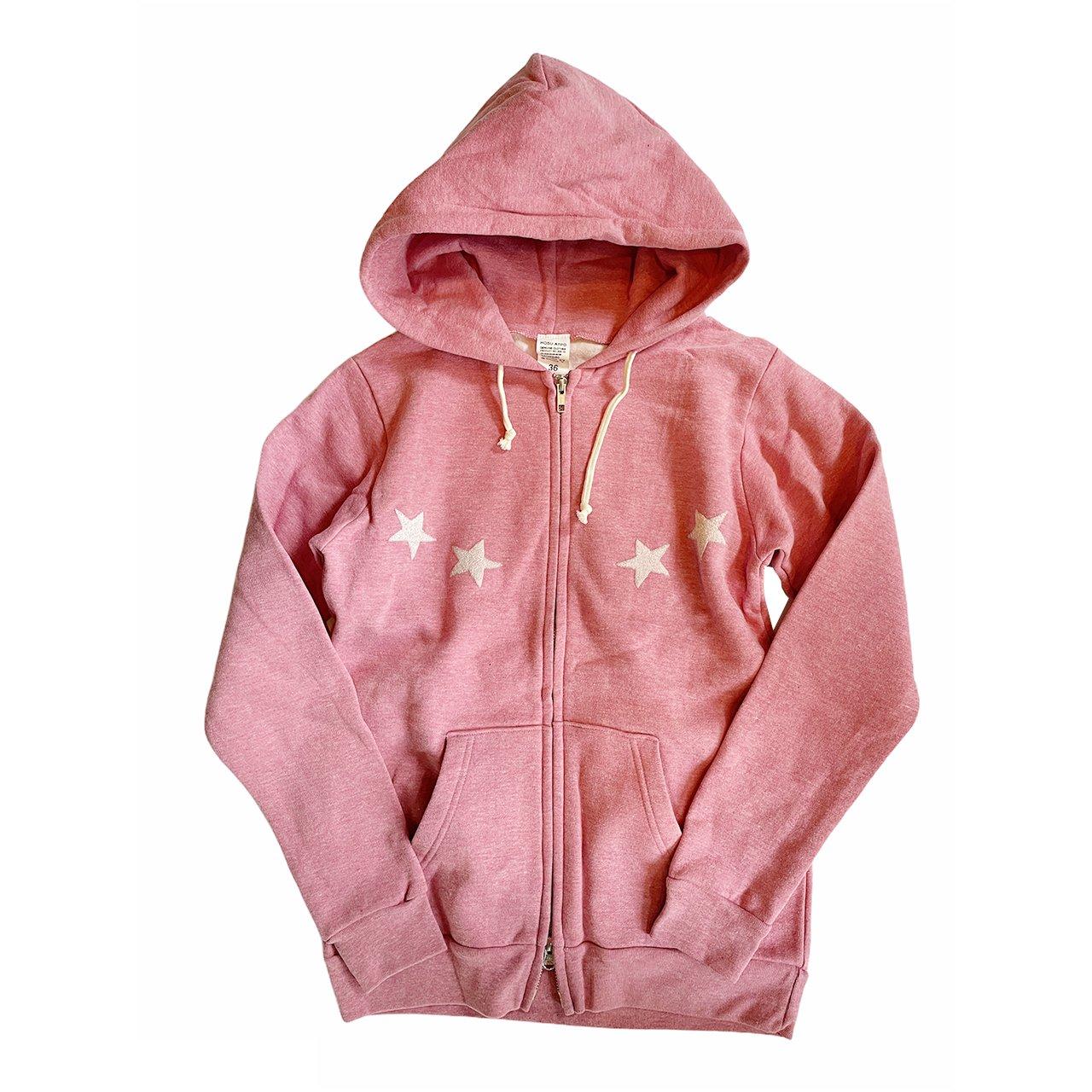 《30%OFF》HOSU 手刺繍プリントZIP-UPパーカー/ピンク