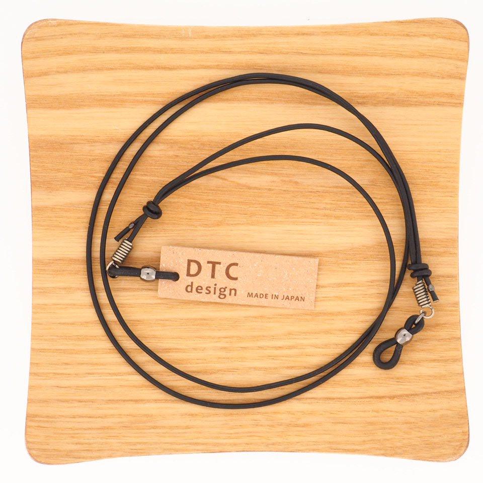 【DTC design / ディーティーシーデザイン】 長さ調整可能 細丸革レザーコード(ブラック)|グラスコード