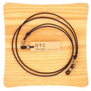 【DTC design / ディーティーシーデザイン】 長さ調整可能 細丸革レザーコード(ブラック&ネイビー) グラスコード