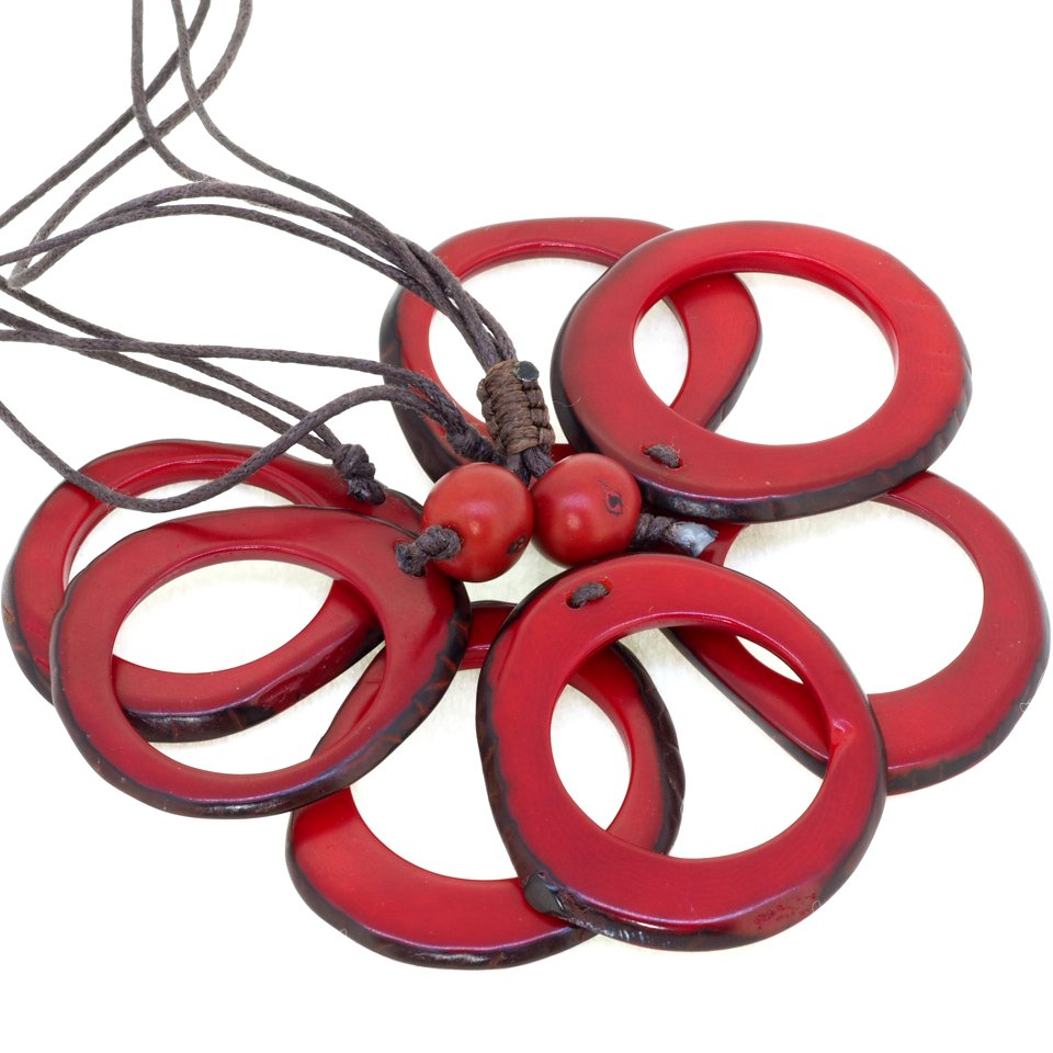Tagua(タグア)7連ネックレス兼グラスホルダー Red2
